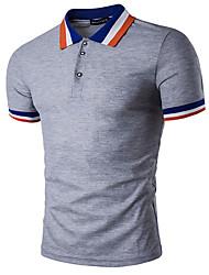 preiswerte -Solide Einfach Lässig/Alltäglich T-shirt,Rundhalsausschnitt Kurzarm Blau Rot Weiß Braun Grau Orange Gelb Baumwolle