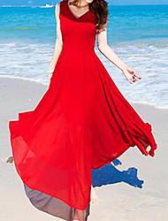 Femme Noeud Mousseline de Soie Balançoire Robe Décontracté/Quotidien simple,Couleur Pleine Col en V Maxi Sans Manches Rouge Polyester Eté