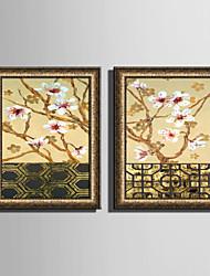 Paesaggio Floreale/Botanical Tele con cornice Set con cornice Decorazioni da parete,PVC Materiale Oro Senza passepartout con cornice For