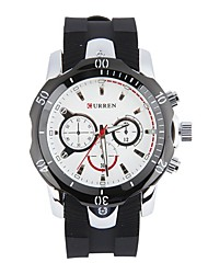 Men's Dress Watch Water Resistant / Water Proof Large Dial Quartz Japanese Quartz Silicone Band Cool Casual Black