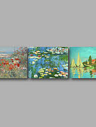 Stretched Canvas Print Three Panels Canvas Wall Decor Home Decoration Abstract Modern Monet Water Lily