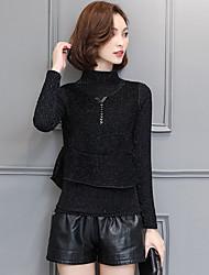 Standard Pullover Da donna-Da giorno Quotidiano Casual Ufficio Semplice Altro Collo alto Manica lunga Non disponibile Inverno Medio