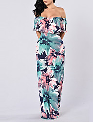 Women's Beach Holiday Sexy Boho Bodycon DressFloral Boat Neck Maxi Short Sleeve Layered Backless Slim Summer Fall High Rise Micro-elastic Medium