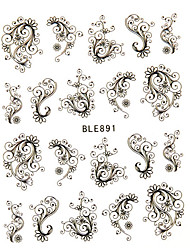 cheap -1pcs new sweet nail art sticker beautiful black flower vine design nail water transfer decals nail beauty tip ble891