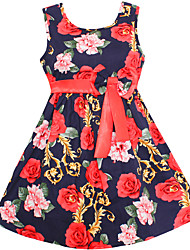 baratos -Menina de Vestido Floral Primavera Verão Algodão Sem Manga Desenho Branco Azul Marinha