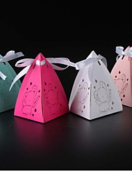 cheap -Pyramid Pearl Paper Favor Holder with Ribbons Favor Boxes - 50