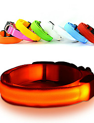 cheap -Cat Dog Collar LED Lights Adjustable / Retractable Strobe/Flashing Safety Solid Rainbow Plastic Nylon Yellow Red Green Blue Pink