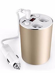 auto-caricabatterie coppa d'oro stile 3.1a USB caricabatteria da auto 100W presa accendisigari 12 / 24v interruttore adattatore voltmetro