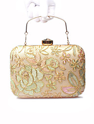 Women Bags All Seasons Polyester Silk Evening Bag Lace Flower for Wedding Event/Party Formal Gold