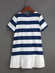 cheap -Women's Casual Loose Dress - Striped