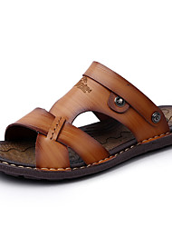 cheap -Men's Cowhide Spring / Summer / Fall Comfort Sandals Upstream Shoes Dark Blue / Light Brown