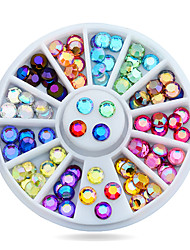 cheap -New 5mm 72pcs Nail Art Multicolor 3d Glitter AB Rhinestone Wheel DIY Strass Beads Design Nail Beauty Decorations