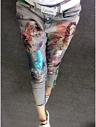 cheap -Women's High Waist strenchy Skinny Pants, Floral Florals N/A Spring, Fall, Winter, Summer