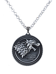 cheap -Men's Women's Circle Animal Wolf Circular Unique Design Logo Style Dangling Style Pendant Necklace Jewelry Alloy Pendant Necklace ,