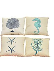 """Недорогие -набор из 4 созданных морскими существами шаблона обложки для постельного белья креативного декора (18 """"* 18"""")"""