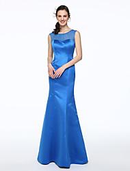 cheap -Mermaid / Trumpet Scoop Neck Floor Length Satin Bridesmaid Dress with Pleats by LAN TING BRIDE®