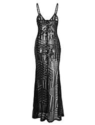 economico -Per donna Skinny Attillato Vestito - Schiena scoperta Con lustrini Spacco, Monocolore Con bretelline Maxi A vita alta
