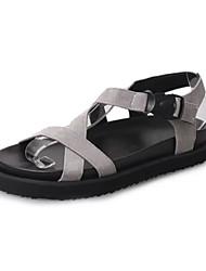 Dámské Sandály Pohodlné hrbit boty PU Léto Ležérní Chůze Pohodlné hrbit boty Přezky Plochá podrážka Černá Šedá Zelená Plochý