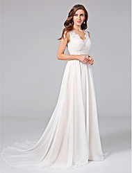 cheap -A-Line V Neck Court Train Chiffon Lace Wedding Dress with Appliques Lace Sash / Ribbon Button by LAN TING BRIDE®