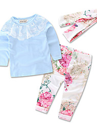 cheap -Toddler Girls' Floral / Lace Party / Going out Solid Colored / Floral Print Long Sleeve Cotton Clothing Set