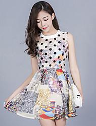 firmare primavera e l'estate nuovi senza maniche stampato donne coreane sottili hampes organza dalla maglia