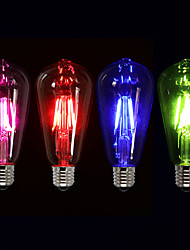 1pc 3W E26/E27 LED Filament Bulbs ST64 4 COB 300-400 lm Pink Red Blue Green K Dimmable Decorative AC 220-240 V