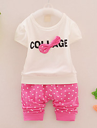 Girl's Going out Casual/Daily Holiday Polka Dot Print Sets Cotton Summer Short Sleeve Tee Pants 2 Piece Clothing Set Children's Garments