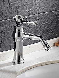 cheap -Contemporary Art Deco/Retro Modern Centerset Waterfall Ceramic Valve One Hole Single Handle One Hole Chrome , Bathroom Sink Faucet