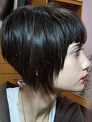 cheap -Short Classy Bob Straight Black Capless Cap Human Hair Wig With Bang For Women 2017
