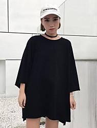 Realmente fazendo patch novo estilo harajuku impressão quinto manga t-shirt feminino solto em torno do pescoço t-shirt maré