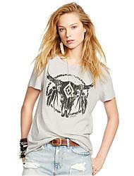 Ebay aliexpress caliente verano nueva hembra de manga corta camiseta de impresión de cuerno patrón de cuello redondo t-shirt de las