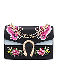 Women Bags All Seasons PU Shoulder Bag Flower for Wedding Event/Party Casual Sports Formal Outdoor Office & Career White Black Orange