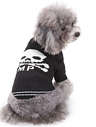 cheap -Cat Dog Sweater Dog Clothes Winter Skulls Fashion Casual/Daily Halloween Black and White Pet Clothing Cosplay Costume