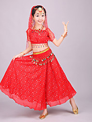 Belly Dance Outfits Kid's Performance Chiffon Gold Coins / Sequins Short Sleeve 4 Pieces Top / Skirt / Hip Scarf / Veil