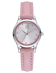 SK Women's Dress Watch Fashion Watch Quartz Water Resistant / Water Proof Shock Resistant Leather Band Charm Casual Minimalist White Pink
