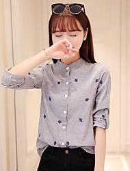 Women's Dailywear Daily Sweet 16 Date Cute Fall Shirt,Stripe Stand Long Sleeves N/A Medium
