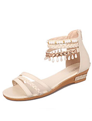 Women's Sandals Comfort PU Spring Summer Casual Comfort Low Heel White Blue Blushing Pink Under 1in