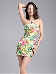 cheap -Women's Club Sexy Bodycon Dress,Print Strapless Mini Sleeveless Cotton Acrylic Summer High Rise Micro-elastic Medium