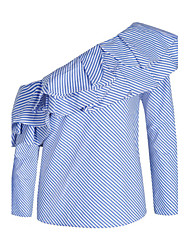 baratos -Mulheres Camisa Social - Para Noite Moda de Rua Luva Lantern Frufru, Listrado Algodão Ombro a Ombro / Primavera / Verão