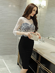 Women's Engagement Party Cocktail Party Prom Quinceanera Wedding Party Sexy A Line Dress,Other Round Neck Knee-length Half Sleeves Lace