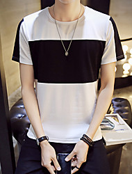 Slim Korean version of the big striped men's short-sleeved T-shirt North
