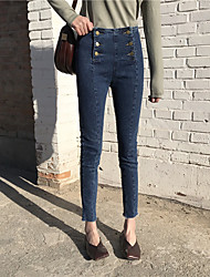 Sign new spring double-breasted female waist Slim jeans feet nine points pencil pants Nett