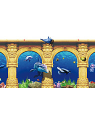 Underwater World Seamless Splice 3D Seawater PVC Glass Stickers Decoration for The Bathroom