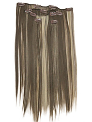 cheap -Clip In Light Brown With Blonde Highlights Synthetic 20 Hair Extensions 5 Pieces /Set Hair Extension