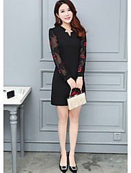 2017 new winter dress women Slim V-neck long section of the Spring and Autumn fashion printed dress