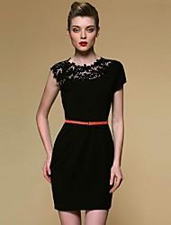 cheap -Women's Lace Dress - Solid One Shoulder