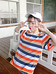 Women's Sports Outdoor Daily Road Bike Sweet 16 School Street Vintage Cute Summer T-shirt,Stripe Round Neck Short Sleeve Cotton Medium