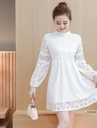 2017 spring new Korean women loose in the long section was thin beaded lace long-sleeved dress bottoming