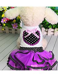 baratos -Cachorro Vestidos Roupas para Cães Princesa Roxo Vermelho Algodão Ocasiões Especiais Para animais de estimação Homens Mulheres Fofo