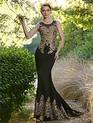Sereia Ilusão Decote Cauda Escova Elastano Evento Formal Vestido com Detalhes em Cristal de Sarahbridal